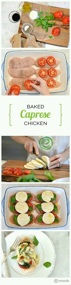 Baked Caprese Chicken - Fresh mozzarella cheese lends a fancy-on-a-budget feel to this recipe, but if you're short on prep time, you can substitute preshredded mozzarella in its place. Baked Caprese Chicken, Cooking Recipes, Healthy Recipes, Crockpot Recipes, Vegetarian Recipes, I Love Food, Food For Thought, Chicken Recipes, Potato Recipes