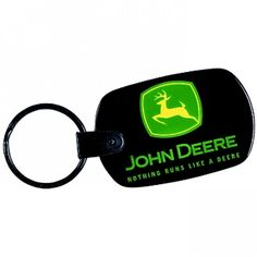JOHN DEERE REAL LEATHER KEY RING SILVER PLATED BADGE PHONE STICKER