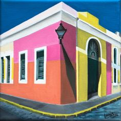 """El Museo"" by Lena del Sol Langaigne  The second painting of 2016 from my smaller, photorealistic series  rendering the side corner view of San Juan's Museum of Art in Old San Juan,  PR      * Title: ""El Museo""     * Medium: Acrylic on stretched canvas     * Size: 10"" x 10"" x 1""     * Ships in 3-5 business days     * All original pieces are accompanied with a signed certificate of       title, guaranteeing their provenance  BACK TO SHOP FINE ART"