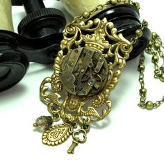 Steampunk Crown Cherub OOAK Necklace Gorgeous by mysticpieces, $96.00
