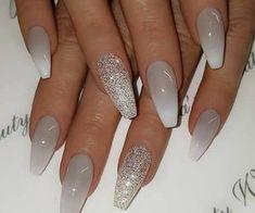Matte White Nails, Grey Acrylic Nails, Mauve Nails, Glitter Nails, Stiletto Nails, White Manicure, Acrylic Nails For Summer Glitter, Grey Gel Nails, Nail Pink