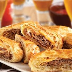 Philly Cheesesteak Pastry Rolls.  Calls for simple, easy to get ingridents, and it's a crowd-pleaser, for sure.