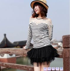 Korean Style Boat Neck Lacework Long Sleeve T-shirt White - $15.24