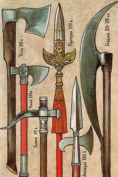 """The axe, which used the princes, and princely combatants, and militiamen, both foot and horse, was the very extended chopping weapon in the Old-Russian troops. However, there was a difference: however, foot more frequently used large axes, horse - """"toporkami"""", i.e., by short axes"""
