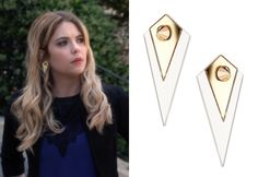 Hanna Marin wore these gold and clear plastic mixed media spike earrings in Pretty Little Liars, episode 4.03, Cat's Cradle. Topshop Plastic Diamond Stud Earrings