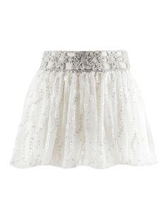 Floral-Appliquéd Mini Chiffon Skirt