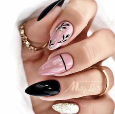 Girls Nail Designs, Creative Nail Designs, Fall Nail Designs, Creative Nails, Oval Nails, Gold Nails, Gorgeous Nails, Pretty Nails, Picasso Nails