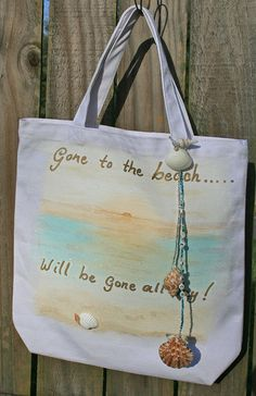 Beach Shopping Tote sand seashells gone to the beach..... hand painted by PardonMyCreativity, $5.50