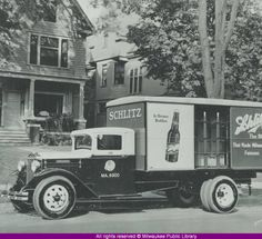 """Schlitz Brewing Company delivery truck. German immigrant Joseph Schlitz came to Milwaukee in 1855 and took a job as a bookkeeper in August Krug's brewery. After Krug died in 1856, Schlitz took over the management of the company. Schlitz donated beer to Chicago after the 1871 fire and soon used distribution in Chicago to expand nationally, becoming """"the beer that made Milwaukee famous."""" Source: Milwaukee Public Library"""