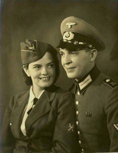 Luftwaffe-Helferin and Heer ( The German Army ) couple.