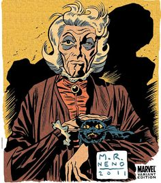 Agatha Harkness, from the Fantastic Four, penciled, inked and colored by Michael Neno