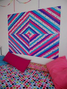 "Duct tape ""headboard""! Check out our wide selection of tape and create your own!!"