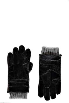 Leather Gloves with Knitted Check