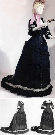 Dress, ca. 1876. Black taffeta, floss, mechanical lace; princess-style cut. Musées Royaux d'Art et d'Histoire, Brussels