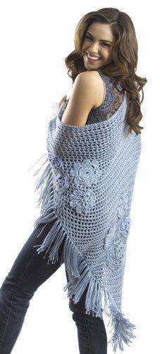 Flower Triangle Shawl Crochet Pattern from Caron Yarn | FaveCrafts.com