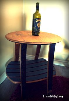 Wine Barrel Side Table  Made from reclaimed wine barrel.  The color is actually from the stain of the wine! $155