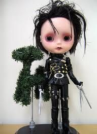 Edward scissorhands Blythe!!!!  Im not into blythe dolls at all...but this is genius!