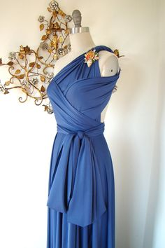 Possibility for bridesmaid dresses... steel blue octopus convertible dress coralie beatrix
