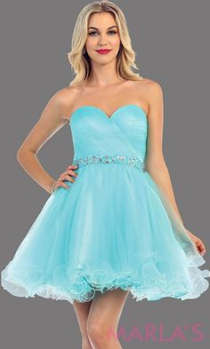 2a3582bffccf Short strapless puffy aqua dress with rhinestone belt. It has a corset  back. This
