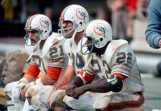 Jim Kiick (21), Larry Csonka (39), and Mercury Morris (22), , Miami Dolphins,1972