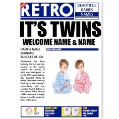 Multiple Births - QuickClickCards - Your design, your message Multiple Births, Your Message, Baby Cards, Personalized Baby, Newspaper, Your Design, New Baby Products, Twins, The Past