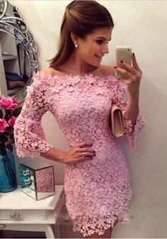 Pink Patchwork Hollow-out Lace Boat Neck Mini Dress