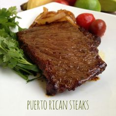 Formally known as bistec encebollado.This dish is savory almost sweet and tropical steak that I love to make. Puerto Rican Steak Recipe, Puerto Rican Recipes, Steak Recipes, Paleo Recipes, Yummy Recipes, Puerto Rican Cuisine, Dinner Sandwiches, Paleo Whole 30, Puerto Ricans