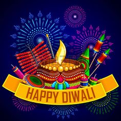 Happy Diwali background with diya and firecracker - Stock Vector ,