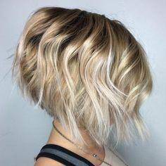 Inverted Wavy Blonde Balayage Bob Best Bob Haircuts, Inverted Bob Hairstyles, Medium Bob Hairstyles, Pixie Haircuts, Braided Hairstyles, Layered Haircuts, Fine Hairstyles, 2015 Hairstyles, Celebrity Hairstyles