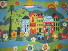 Vintage 60s 70s Dutch Dekoplus Scandinavian childrens cotton fabric 50cm x 50cm - £9.50 on Ebay