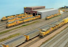 Many Kato N Scale UP locomotives at this repair facility