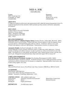 Resume Format For Freshers Graduate And Mechanical Engineers