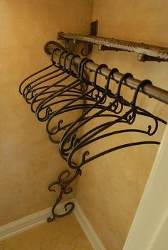 Want these too - Hand Forged Coat Rack with Custom Iron Hangers by ARC IRON CREATIONS... For the mud room instead of just hooks