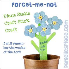 Forget-me-not Plant Stake Bible Craft for Sunday School from www.daniellesplace.com