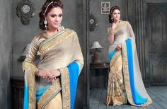 Party Wear Embroidered Chiffon Net Art Silk Saree 19