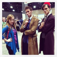 Pin for Later: 26 Wonderful Doctor Who Costume Ideas For Whovians Donna, Ten, and Eleven At ConnectiCon, Donna Noble faces her worst nightmare: two Doctors.  Source: Instagram user thedannywho