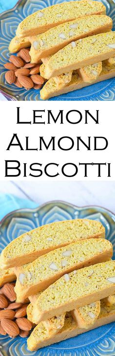 Easy Almond Biscotti with Lemon - Lowfat #cookies #biscotti #cookierecipe #italiancookies #healthycookies #LMrecipes #foodblog #foodblogger