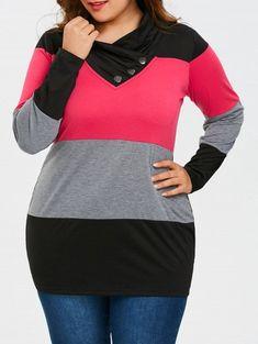 97db3886c5a Plus Size Heaps Collar Long Sleeve T-shirt - COLORMIX 2XL T-shirt Avec