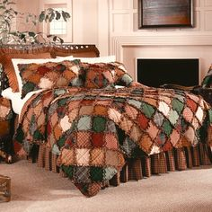 Charmingly informal. Warmth, comfort and beauty. Earthly shades of brown, green, rust and gold are joined with shaggy, frayed-edging on this Campfire Quilt.Quilt Set Includes:1 quilt and standard size pillow shams (1 with twin, 2 with full/queen and 3 with king)Complete Bed Set includes:quilt, bed skirt, 2 shams (3 with king)EZ Bed Set Includes:quilt and standard size pillow shams (1 with twin, 2 with full/queen and 3 with king), bed skirt and ruffled euro shams (1 with twin, 2 with...
