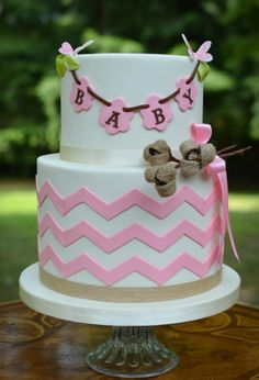Burlap Baby Shower Cake