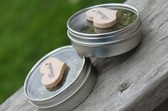 Tin Can Wedding Favor Container with Wood by decadentdesigns, $2.50