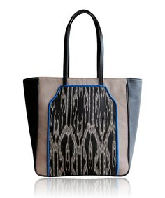 Woven Ikat and Leather Tote by cathysbags on Etsy, $65.00