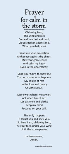 Prayer for calm in the storm – Prayer For Anxiety anxiety Prayer Scriptures, Bible Prayers, Faith Prayer, God Prayer, Prayer Quotes, Power Of Prayer, Faith In God, Faith Quotes, Spiritual Quotes