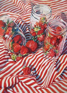 Strawberries in glass jars painting acrylic oil watercolor Pretty Art, Cute Art, Painting Inspiration, Art Inspo, Wow Art, Aesthetic Art, Painting & Drawing, Realistic Oil Painting, Food Painting