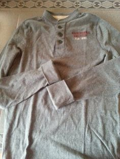 Abercrombie & Fitch gray long sleeve henley. Mens Sz L. 100% cotton. #AbercrombieFitch #Henley