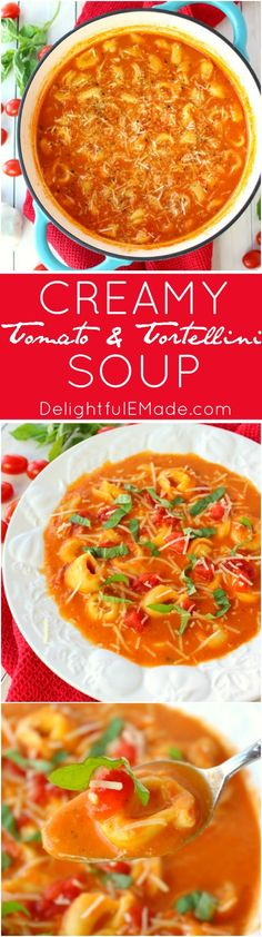 This fantastic tomato soup recipe has it all! Creamy, delicious tomatoes are simmered together with Parmesan cheese, tender tortellini and topped with fresh basil. This soup is a fantastic Christmas Eve dish or wonderful anytime you're looking to warm up Tomato Soup Recipes, Chili Recipes, Veggie Recipes, Crockpot Recipes, Dinner Recipes, Cooking Recipes, Healthy Recipes, Drink Recipes, Dinner Ideas