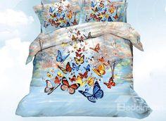 Beautiful Colorful Butterflies Print 4 Piece Bedding Sets #butterfly #beddingsets @bedding inn