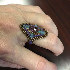 Beautiful Tapestry Ring, pattern and tutorial by Bronzepony Beaded Jewelry.
