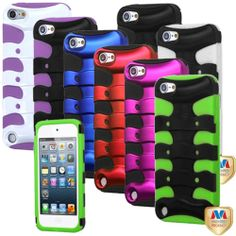 Deluxe Pink/Black/White/Purple Rubber Hard Hybrid Case For iPod Touch 5 5th Gen