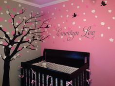 pretty tree painting on wall in baby room Glenn Heintz Baby Bedroom, Baby Room Decor, Nursery Room, Girl Nursery, Girls Bedroom, Baby Rooms, My Baby Girl, Baby Love, Baby Girls